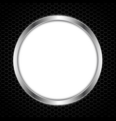 white circle board with abstract metal texture vector image vector image