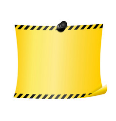 Yellow page with caution stripes at the edges vector
