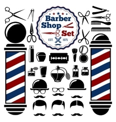 Barber Shop accessories set With vector image vector image