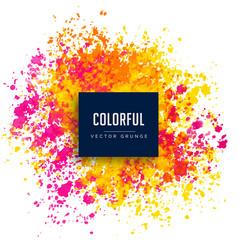 bright pink yellow watercolor splash background vector image vector image