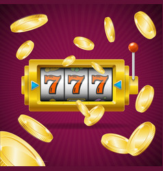 casino concept slot machine and golden coin vector image