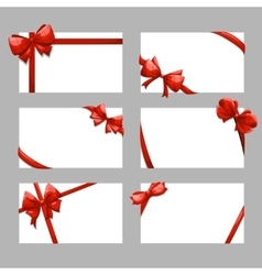 Gift cards with bows set vector image