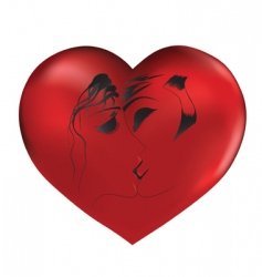 loved couple on red heart vector image vector image