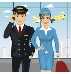 Pilot and air hostess in uniform at airport vector