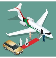 Private jet airplane Two arab business mans vector image vector image