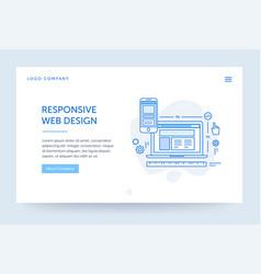responsive design web banner blue vector image
