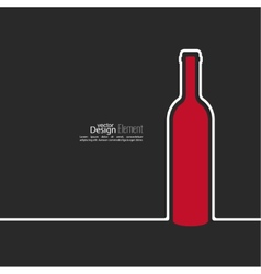 Ribbon in the form of wine bottle with shadow and vector image vector image