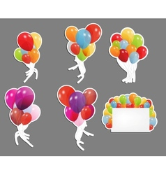 set of labels with colored ballons vector image vector image