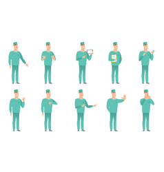 set of surgeon characters vector image vector image