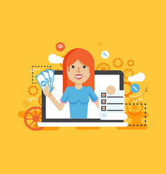 woman laptop notebook offers vector image