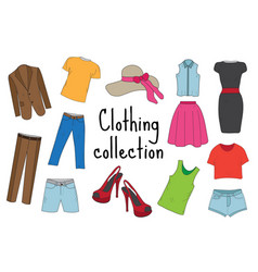 clothing set hand drawn sketch doodle style vector image