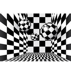 Magic balls in checkered room vector image