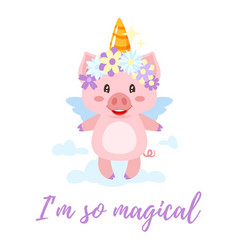 pig with unicorn magic horn vector image