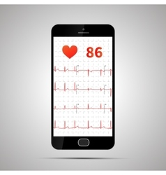 Smartphone with typical human electrocardiogram vector