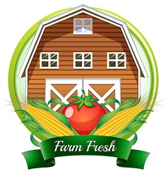 A farm fresh label with a brown barnhouse a tomato vector