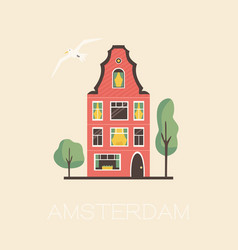 an amsterdam street with traditional old building vector image