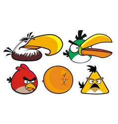 Angry birds set 5 designs vector