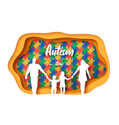 Autism awareness day papercut family puzzle vector