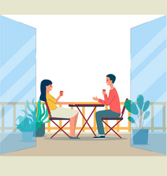 balcony terrace with people sitting at table flat vector image