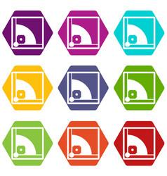 baseball field icon set color hexahedron vector image