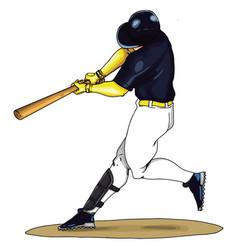 baseball player swings bat on white vector image