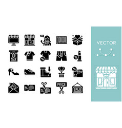 Black friday related solid icon set vector