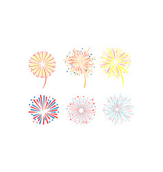 brightly colorful fireworks set design element vector image