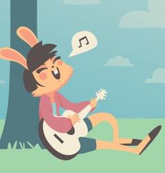Bunny Girl Singing Under a Tree vector