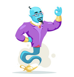 businessman arabian genie magic lamp smoke cartoon vector image