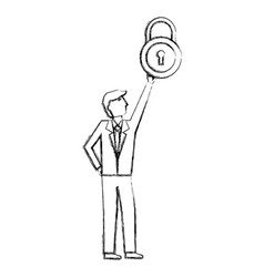 businessman holding padlock security protection vector image