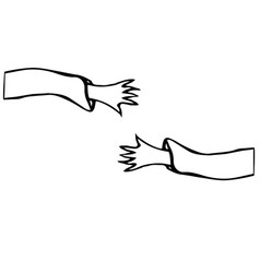 Cartoon arms or hands stretch towards each other vector