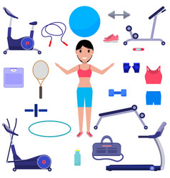 Cartoon girl with various sports equipment vector
