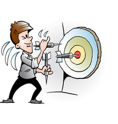 Cartoon of a businessman there trying to hit a vector