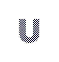 checker pattern logo letter u vector image