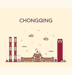chongqing skyline southwest china line city vector image