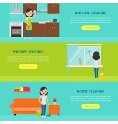 Cleaning Service Horizontal Banners vector