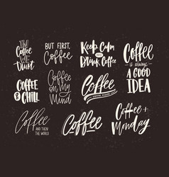 collection of coffee lettering isolated on dark vector image