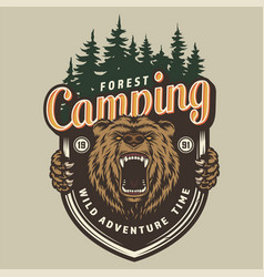 Colorful forest camping label vector