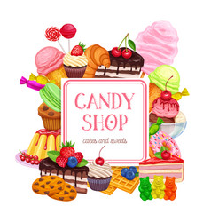Confectionery and sweets banner or poster design vector