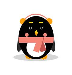 Cute cartoon penguin character wearing headphones vector