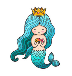 Cute little princess mermaid with turquoise hair vector