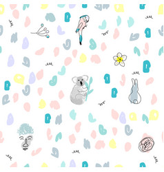 cute seamless pattern with doodle colorful vector image