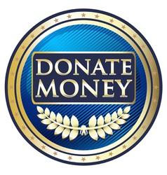 Donate Money Blue Label vector image