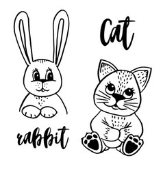 doodle cat and rabbit vector image