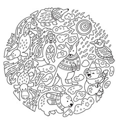 doodle christmas australian animals in circle vector image