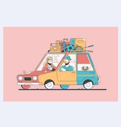 Family vacation cheerful vector