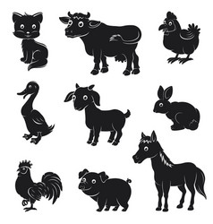 farm animals silhouettes collection vector image