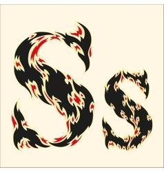 Fiery font Letter S on white vector