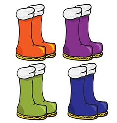 four pair of boots vector image