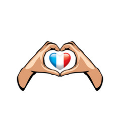 France flag and hand on white background vector